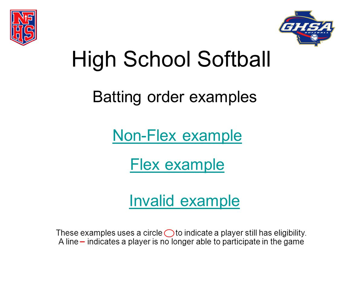 High School Softball Batting order examples Non-Flex example Flex example These examples uses a circle to indicate a player still has eligibility.