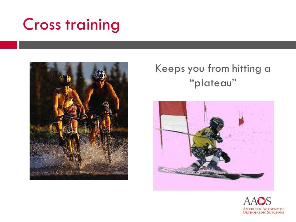 26 Cross training Keeps you from hitting a plateau