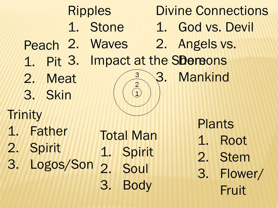 3 2 1 Peach 1.Pit 2.Meat 3.Skin Plants 1.Root 2.Stem 3.Flower/ Fruit Ripples 1.Stone 2.Waves 3.Impact at the Shore Trinity 1.Father 2.Spirit 3.Logos/Son Divine Connections 1.God vs.