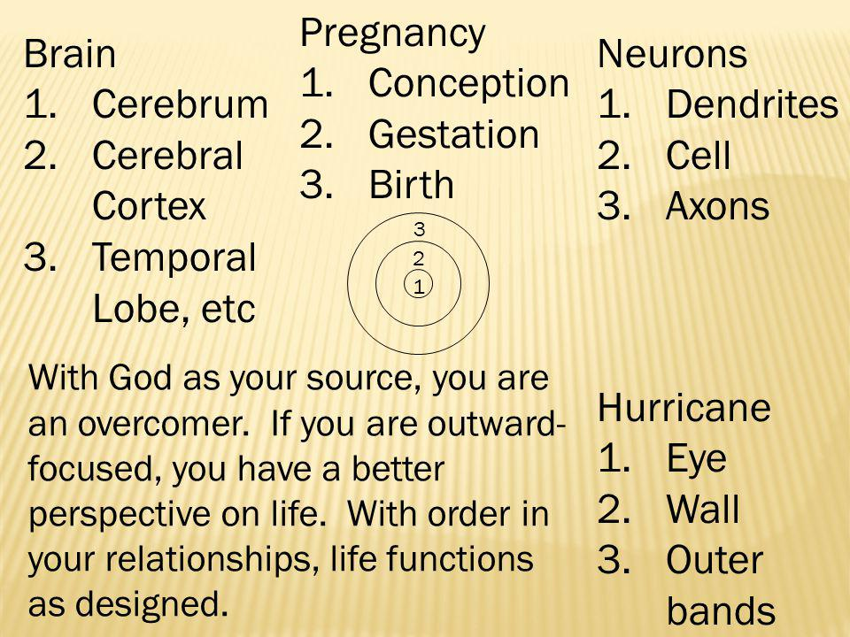 3 2 1 Neurons 1.Dendrites 2.Cell 3.Axons Brain 1.Cerebrum 2.Cerebral Cortex 3.Temporal Lobe, etc Pregnancy 1.Conception 2.Gestation 3.Birth Hurricane 1.Eye 2.Wall 3.Outer bands With God as your source, you are an overcomer.