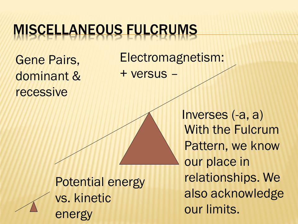 Gene Pairs, dominant & recessive Inverses (-a, a) Potential energy vs. kinetic energy Electromagnetism: + versus – With the Fulcrum Pattern, we know o
