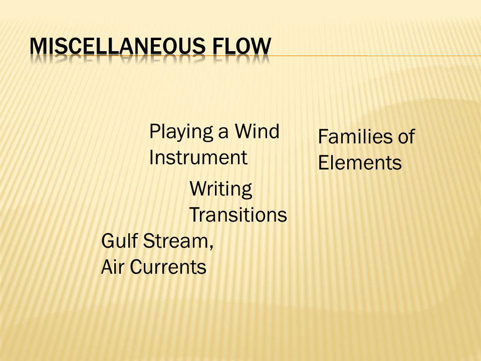 Writing Transitions Families of Elements Gulf Stream, Air Currents Playing a Wind Instrument