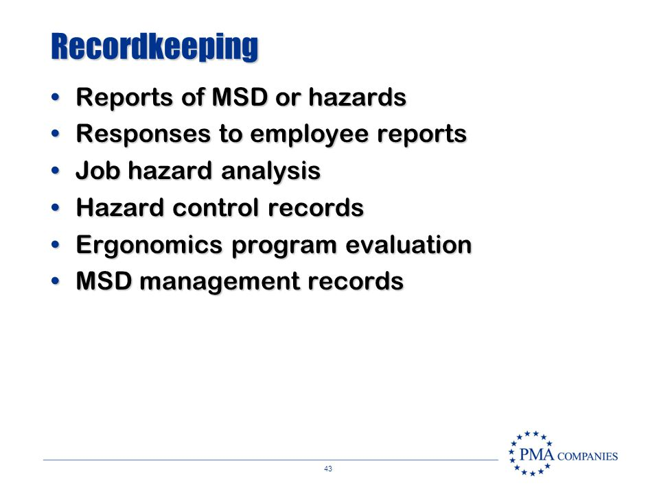 42 Employee Involvement Report of signs, symptoms & hazardsReport of signs, symptoms & hazards Hazard control recommendationsHazard control recommenda