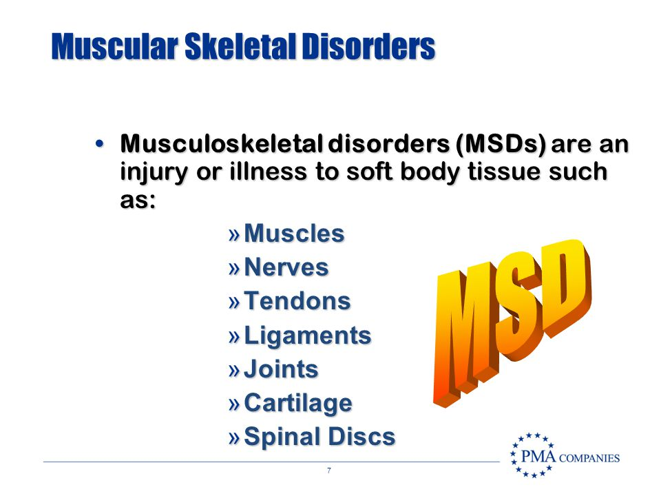 6 Muscular Skeletal Disorders MSDs are medical conditions that develop gradually over a period of timeMSDs are medical conditions that develop gradual