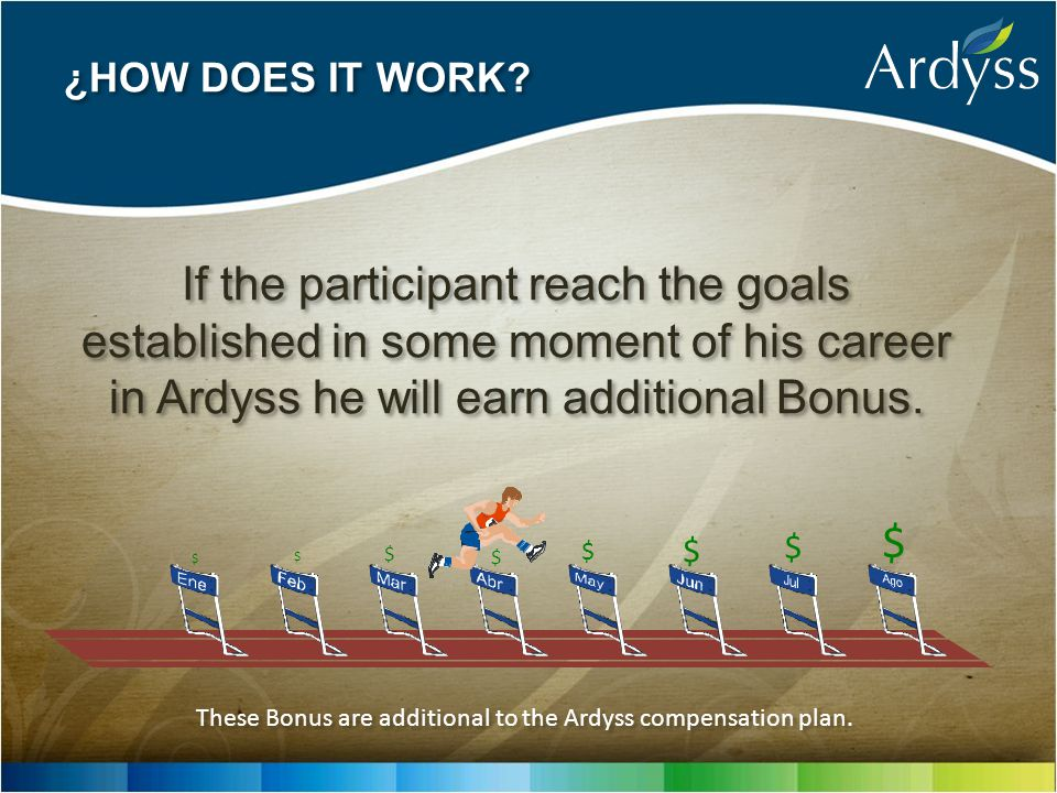 If the participant reach the goals established in some moment of his career in Ardyss he will earn additional Bonus. These Bonus are additional to the