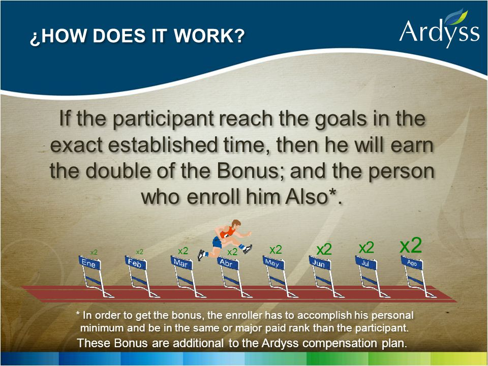 If the participant reach the goals in the exact established time, then he will earn the double of the Bonus; and the person who enroll him Also*.