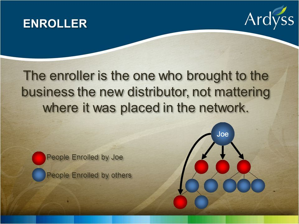 ENROLLER The enroller is the one who brought to the business the new distributor, not mattering where it was placed in the network. Joe People Enrolle