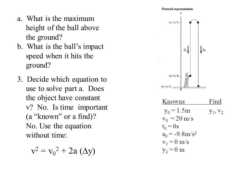 KnownsFind y 0 = 1.5my 1, v 2 v 0 = 20 m/s t 0 = 0s a 0 = -9.8m/s 2 v 1 = 0 m/s y 2 = 0 m a. What is the maximum height of the ball above the ground?