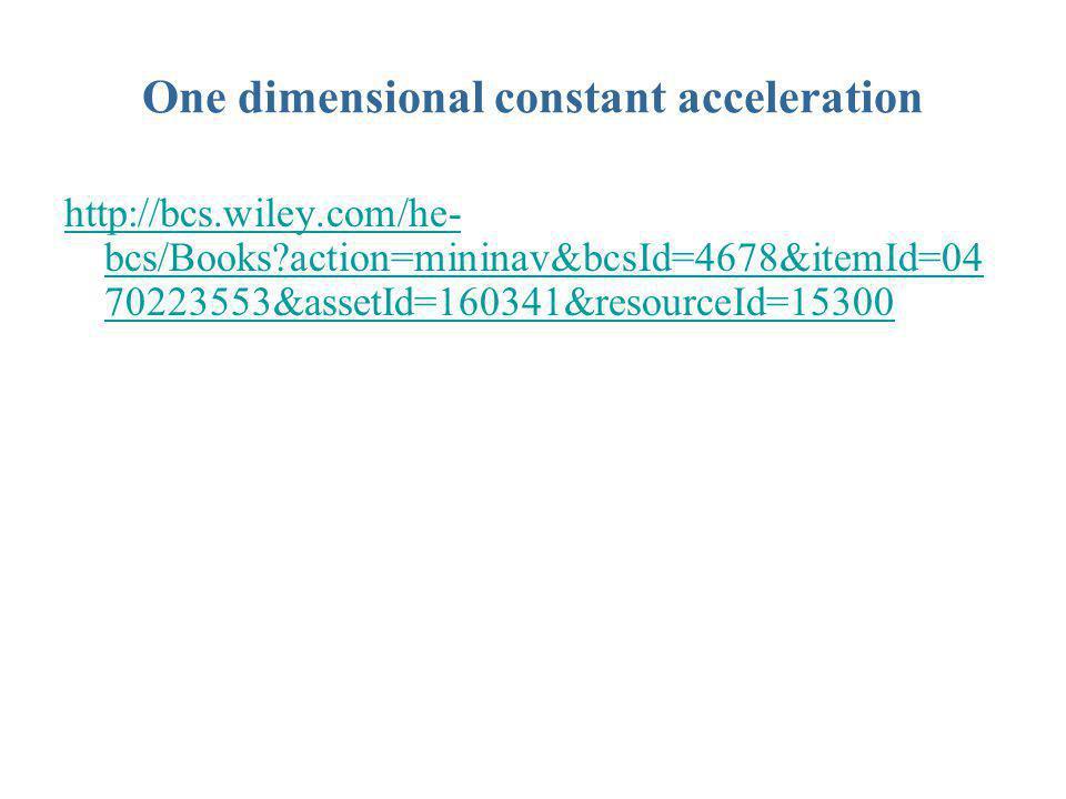 One dimensional constant acceleration http://bcs.wiley.com/he- bcs/Books?action=mininav&bcsId=4678&itemId=04 70223553&assetId=160341&resourceId=15300