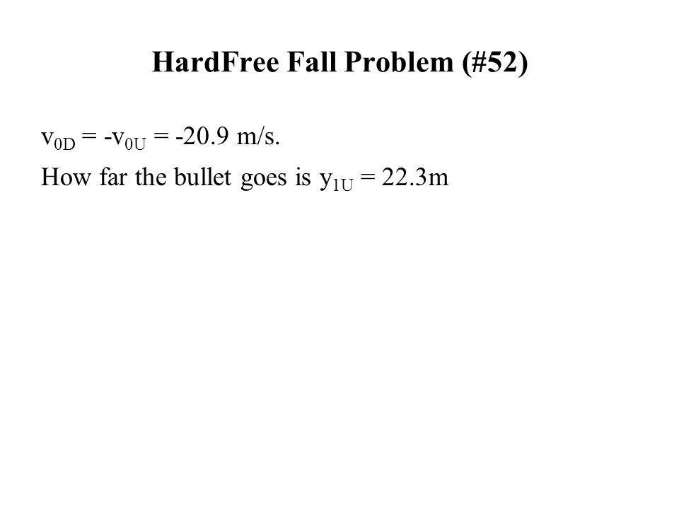 HardFree Fall Problem (#52) v 0D = -v 0U = -20.9 m/s. How far the bullet goes is y 1U = 22.3m