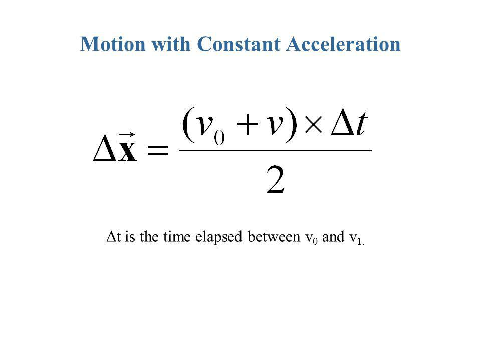 Motion with Constant Acceleration Δt is the time elapsed between v 0 and v 1.