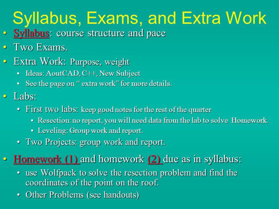 Syllabus, Exams, and Extra Work Syllabus: course structure and paceSyllabus: course structure and paceSyllabus Two Exams.Two Exams. Extra Work: Purpos