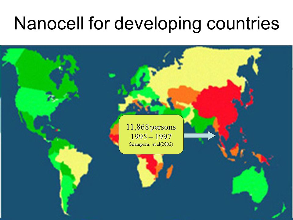 Nanocell for developing countries 11,868 persons 1995 – 1997 Sriamporn, et al(2002)