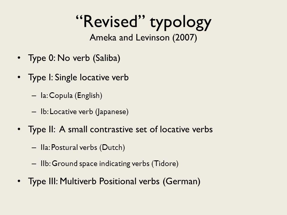 Revised typology Ameka and Levinson (2007) Type 0: No verb (Saliba) Type I: Single locative verb – Ia: Copula (English) – Ib: Locative verb (Japanese) Type II: A small contrastive set of locative verbs – IIa: Postural verbs (Dutch) – IIb: Ground space indicating verbs (Tidore) Type III: Multiverb Positional verbs (German)