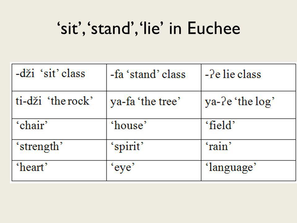 sit, stand, lie in Euchee