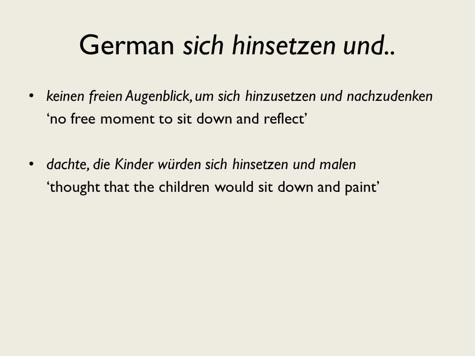 German sich hinsetzen und..