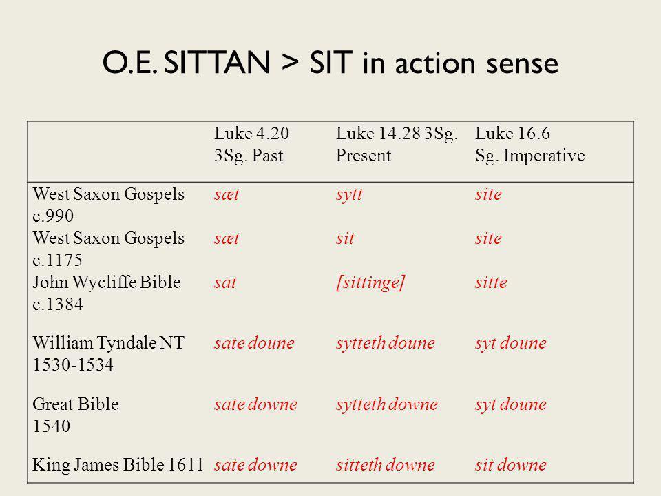 O.E.SITTAN > SIT in action sense Luke 4.20 3Sg. Past Luke 14.28 3Sg.