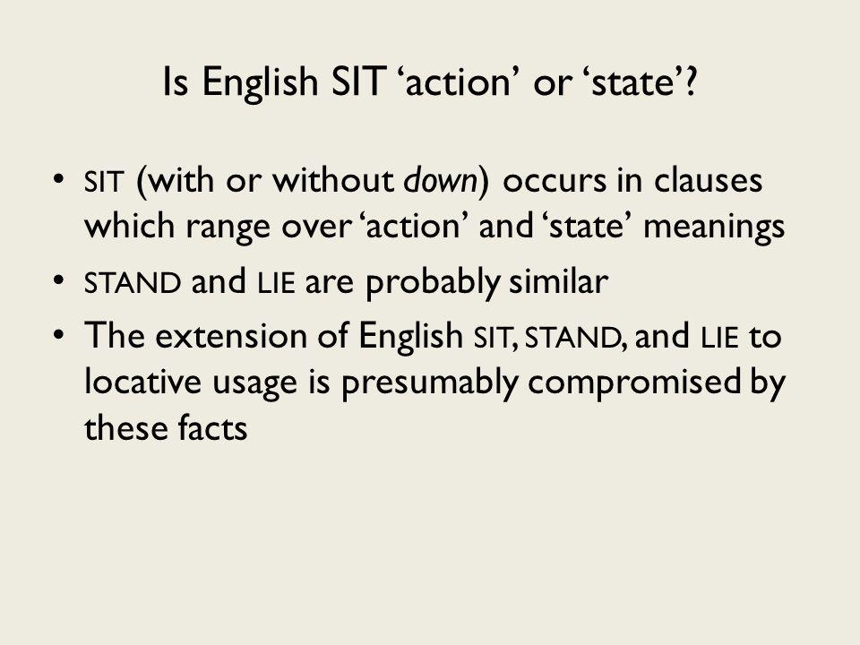 Is English SIT action or state.