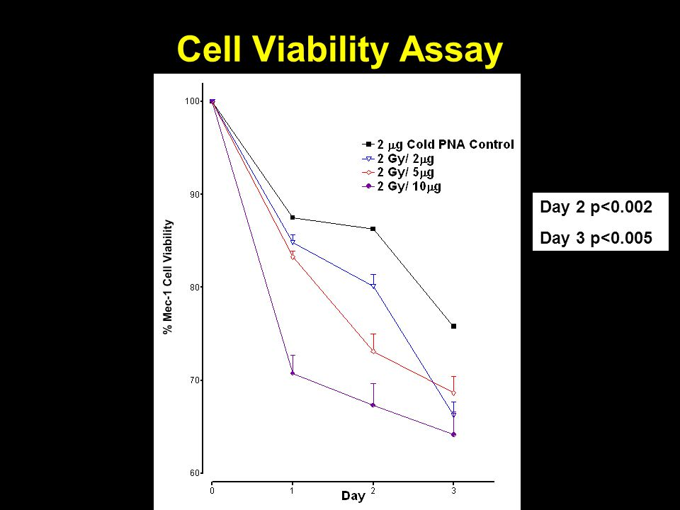 Cell Viability Assay Day 2 p<0.002 Day 3 p<0.005