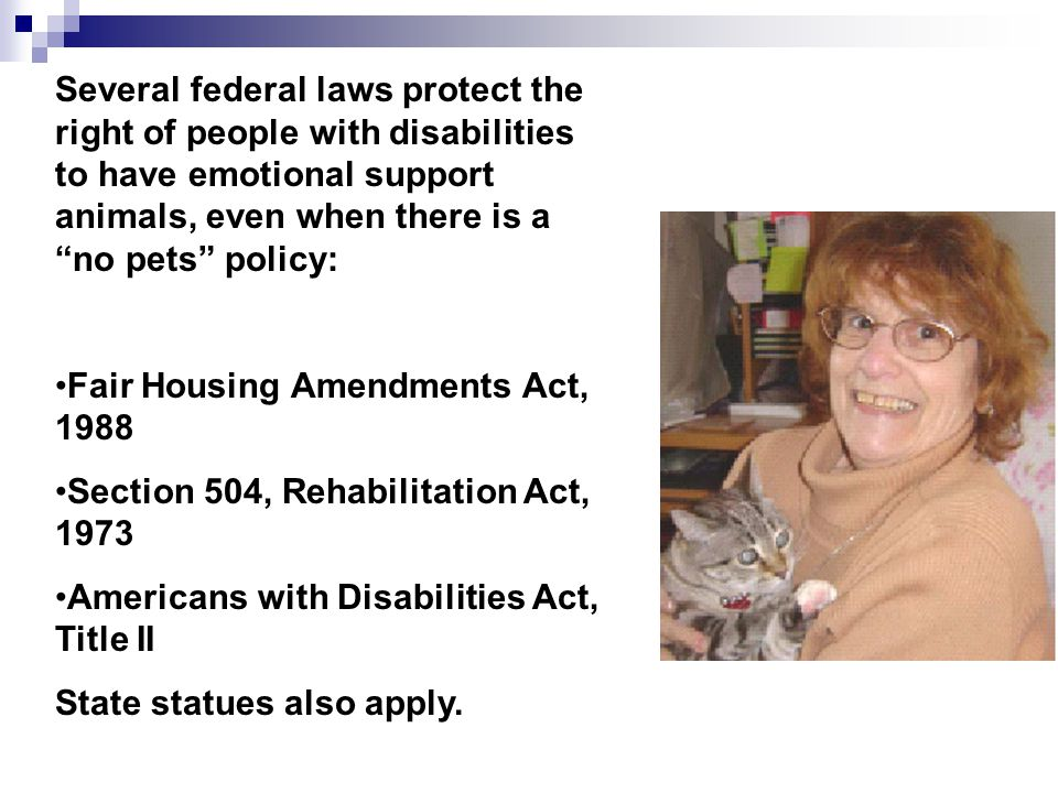 Several federal laws protect the right of people with disabilities to have emotional support animals, even when there is a no pets policy: Fair Housin