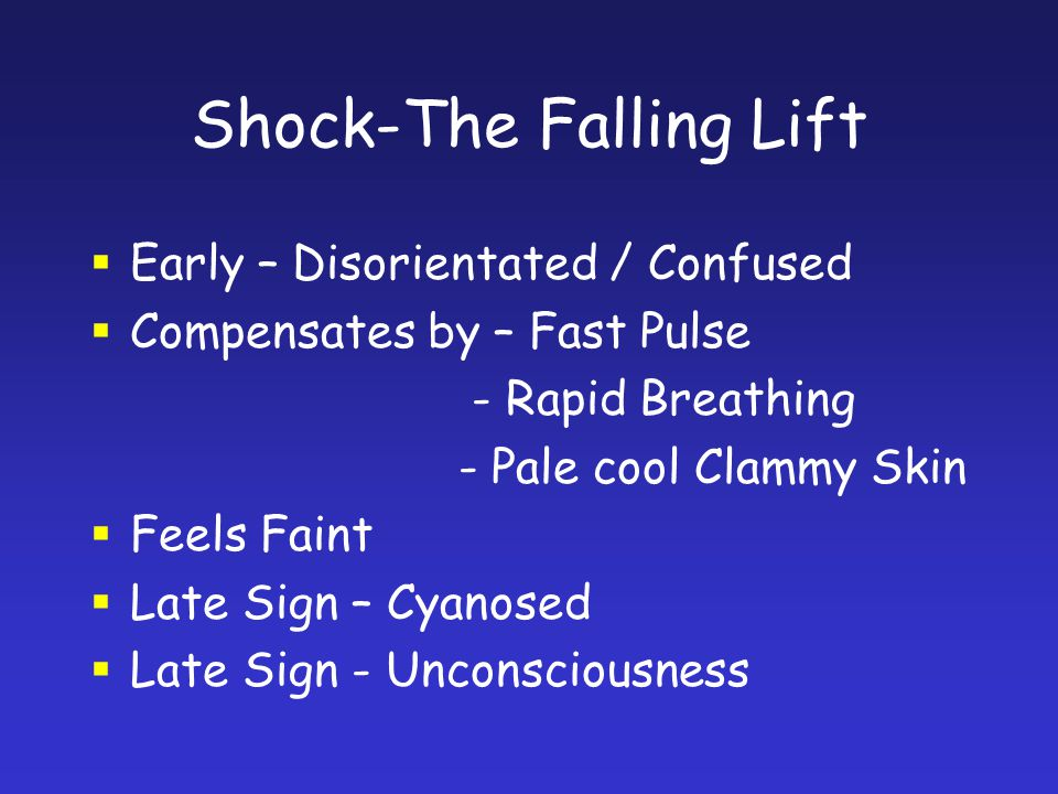 Shock-The Falling Lift Early – Disorientated / Confused Compensates by – Fast Pulse - Rapid Breathing - Pale cool Clammy Skin Feels Faint Late Sign –