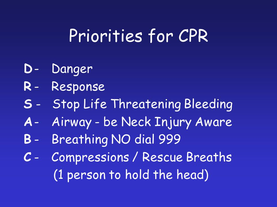 Priorities for CPR D-Danger R-Response S - Stop Life Threatening Bleeding A-Airway - be Neck Injury Aware B-Breathing NO dial 999 C-Compressions / Res