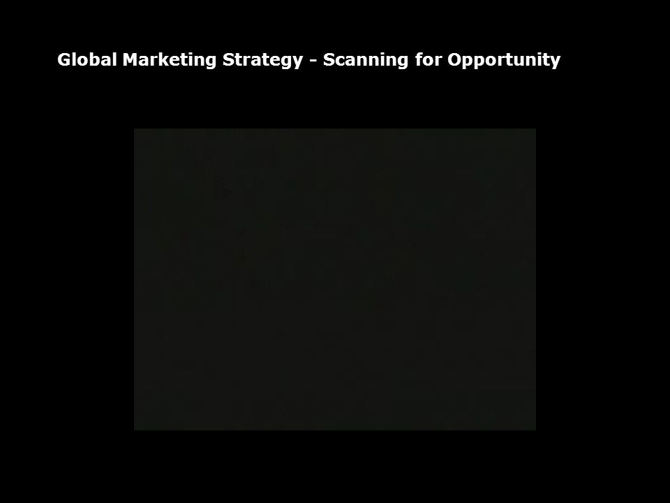 Global Marketing Strategy - Scanning for Opportunity