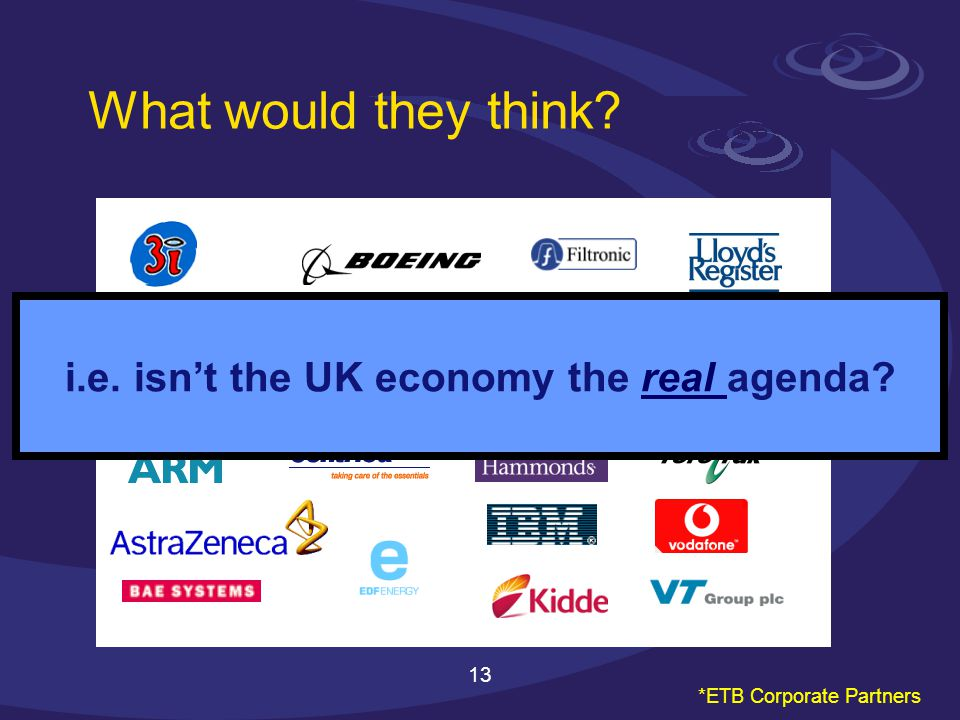 13 i.e. isnt the UK economy the real agenda What would they think *ETB Corporate Partners