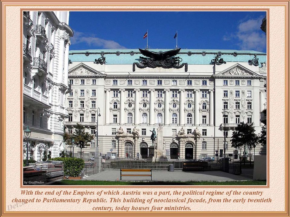 Sumptuous as a palace is the Parliament building of Vienna.