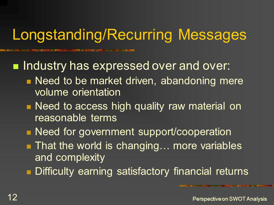 Perspective on SWOT Analysis 12 Longstanding/Recurring Messages Industry has expressed over and over: Need to be market driven, abandoning mere volume