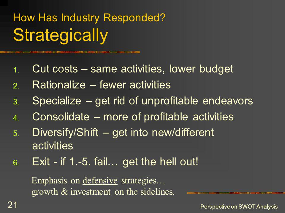 Perspective on SWOT Analysis 21 How Has Industry Responded? Strategically 1. Cut costs – same activities, lower budget 2. Rationalize – fewer activiti