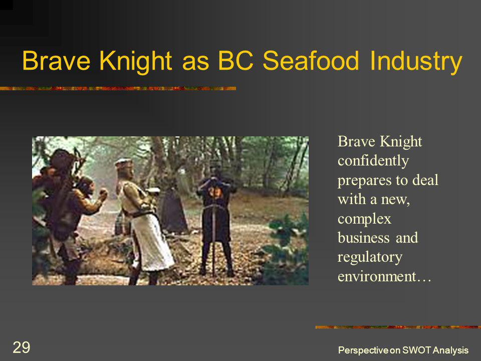 Perspective on SWOT Analysis 29 Brave Knight as BC Seafood Industry Brave Knight confidently prepares to deal with a new, complex business and regulatory environment…