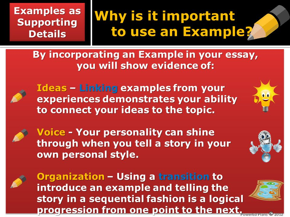 Why is it important to use an Example.