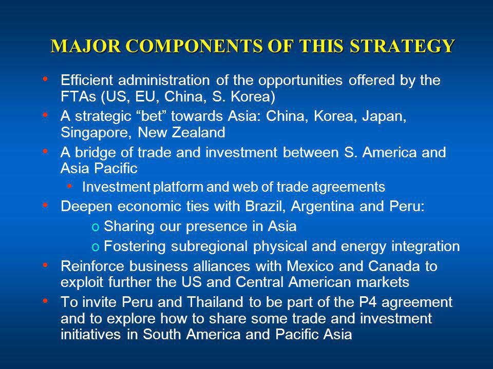 MAJOR COMPONENTS OF THIS STRATEGY Efficient administration of the opportunities offered by the FTAs (US, EU, China, S.