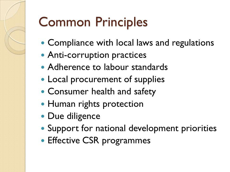 Common Principles Compliance with local laws and regulations Anti-corruption practices Adherence to labour standards Local procurement of supplies Consumer health and safety Human rights protection Due diligence Support for national development priorities Effective CSR programmes