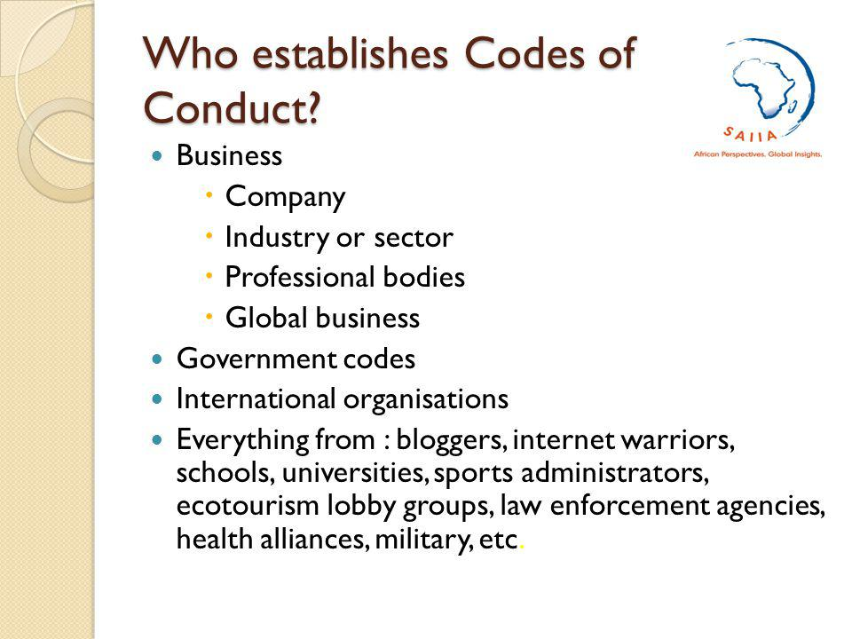 Who establishes Codes of Conduct.