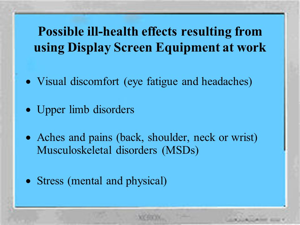 Working with Display Screen Equipment Health and Safety Unit
