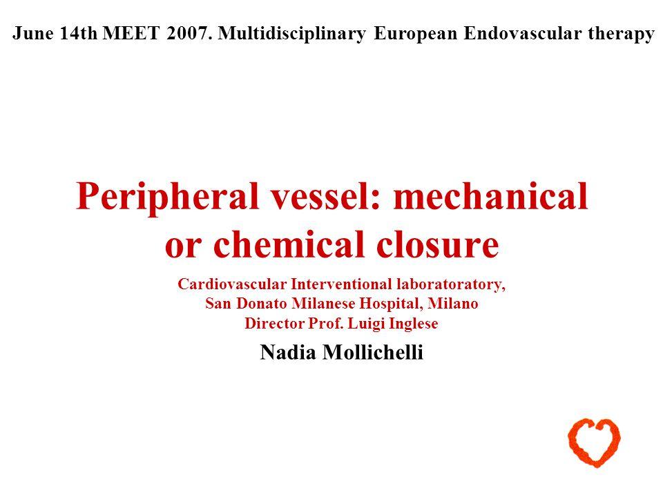 Peripheral vessel: mechanical or chemical closure Cardiovascular Interventional laboratoratory, San Donato Milanese Hospital, Milano Director Prof. Lu