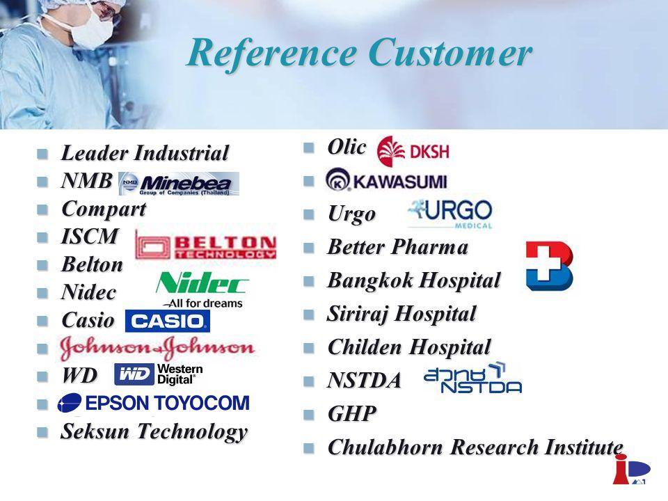 Reference Customer Leader Industrial Leader Industrial NMB NMB Compart Compart ISCM ISCM Belton Belton Nidec Nidec Casio Casio Johnson & Johnson Johns