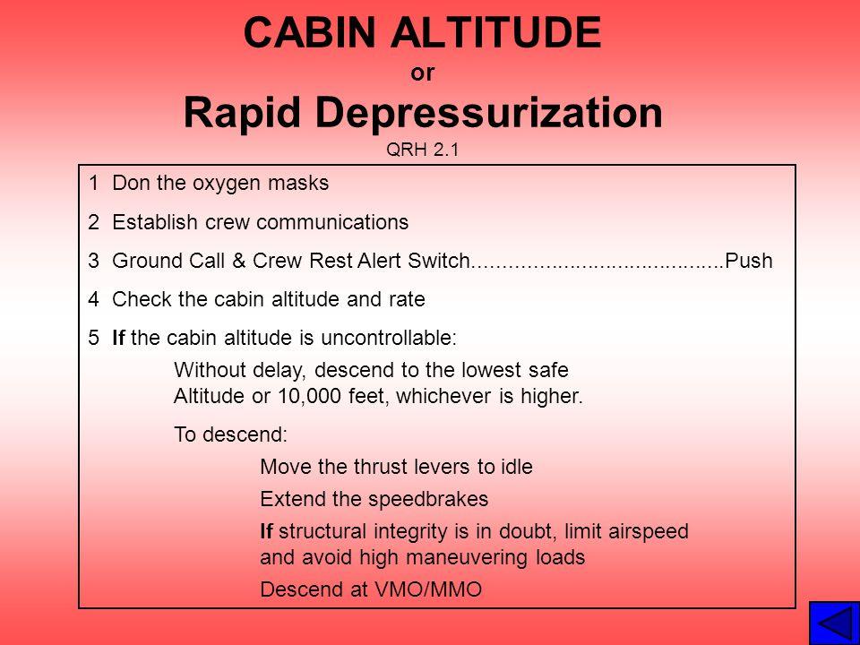CABIN ALTITUDE or Rapid Depressurization QRH 2.1 1 Don the oxygen masks 2 Establish crew communications 3 Ground Call & Crew Rest Alert Switch........