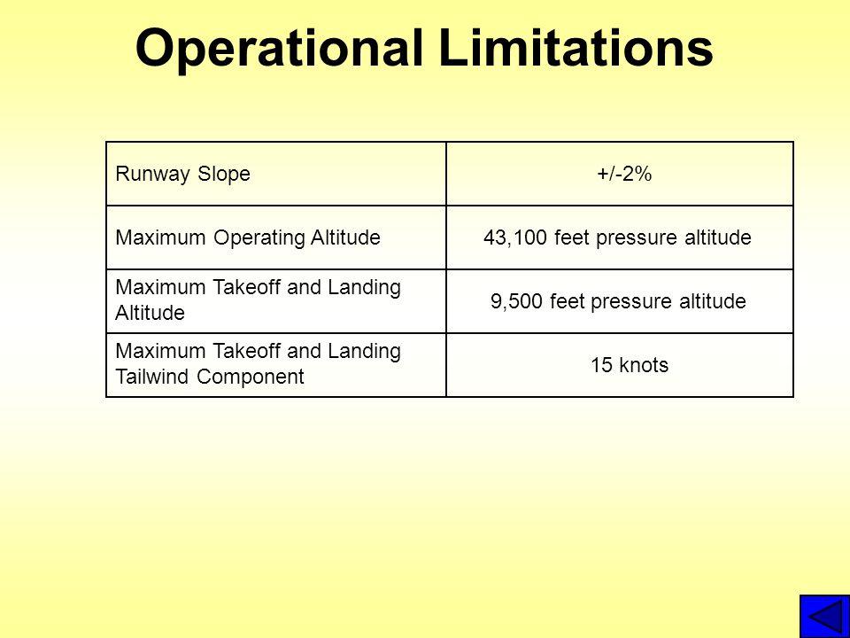 Operational Limitations Runway Slope+/-2% Maximum Operating Altitude43,100 feet pressure altitude Maximum Takeoff and Landing Altitude 9,500 feet pres