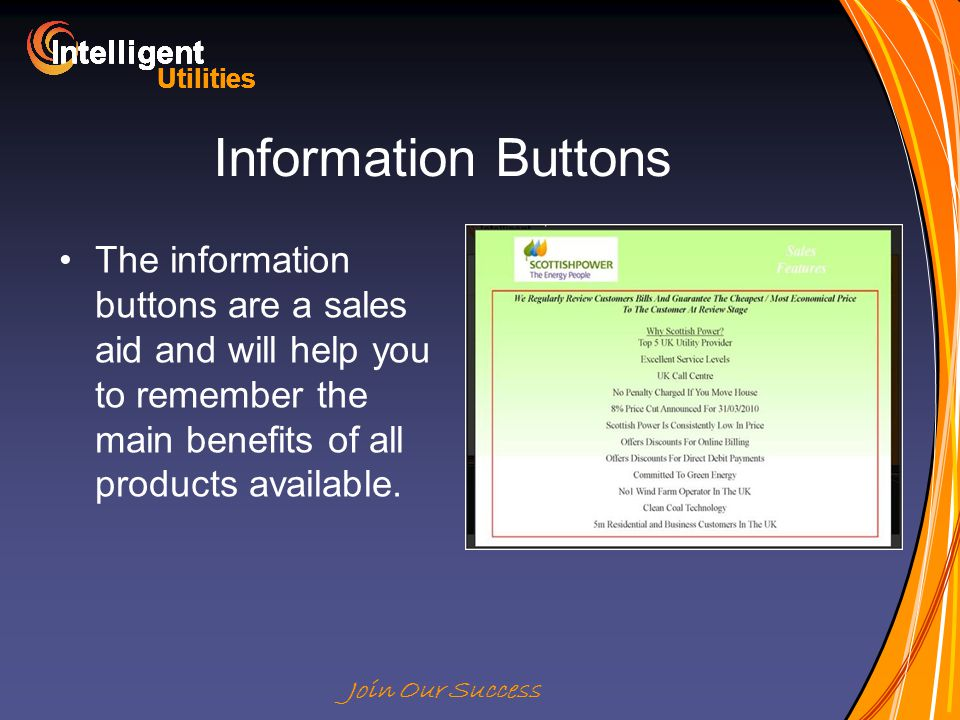 Intelligent Utilities Intelligent Utilities Intelligent Utilities Intelligent Utilities Intelligent Utilities Intelligent Utilities Intelligent Utilities Intelligent Utilities Intelligent Join Our Success Information Buttons The information buttons are a sales aid and will help you to remember the main benefits of all products available.