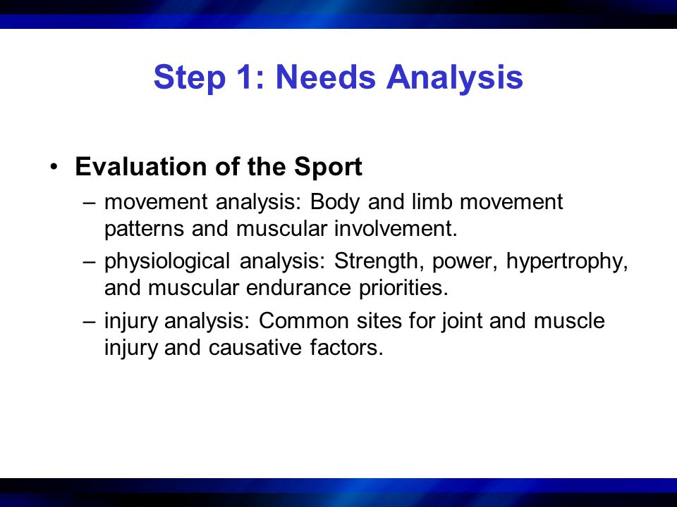 Step 1: Needs Analysis Evaluation of the Sport –movement analysis: Body and limb movement patterns and muscular involvement. –physiological analysis: