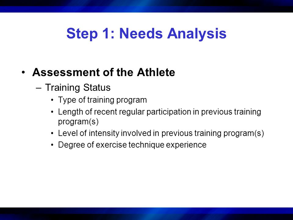 Section Outline (continued) Step 5: Training Load and Repetitions –Assigning Load and Repetitions Based on the Training Goal Repetition Maximum Continuum Percentage of the 1RM –How to Calculate a Training Load –Assigning Percentages for Power Training –Variation of the Training Load –Progression of the Training Load Timing Load Increases Quantity of Load Increases