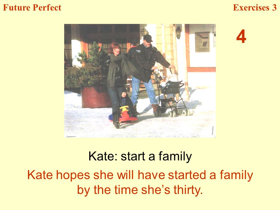 Kate: start a family Future PerfectExercises 3 Kate hopes she will have started a family by the time shes thirty.