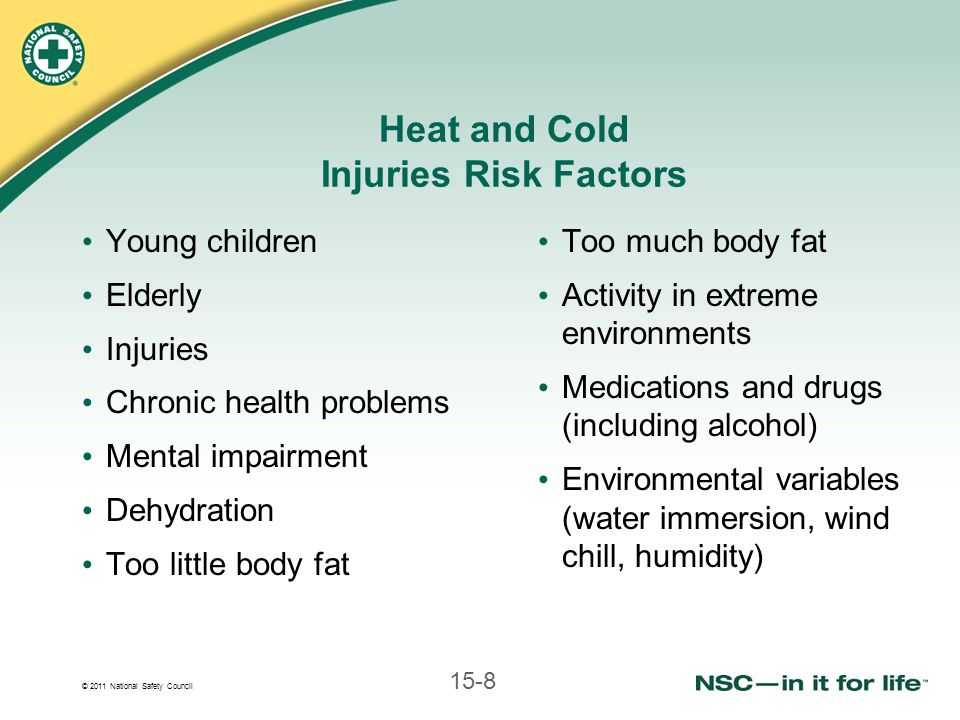 © 2011 National Safety Council 15-8 Heat and Cold Injuries Risk Factors Young children Elderly Injuries Chronic health problems Mental impairment Dehydration Too little body fat Too much body fat Activity in extreme environments Medications and drugs (including alcohol) Environmental variables (water immersion, wind chill, humidity)