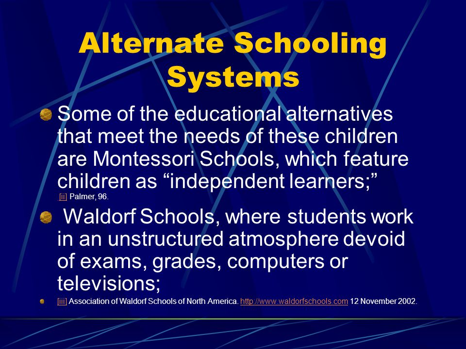 Alternate Schooling Systems Some of the educational alternatives that meet the needs of these children are Montessori Schools, which feature children