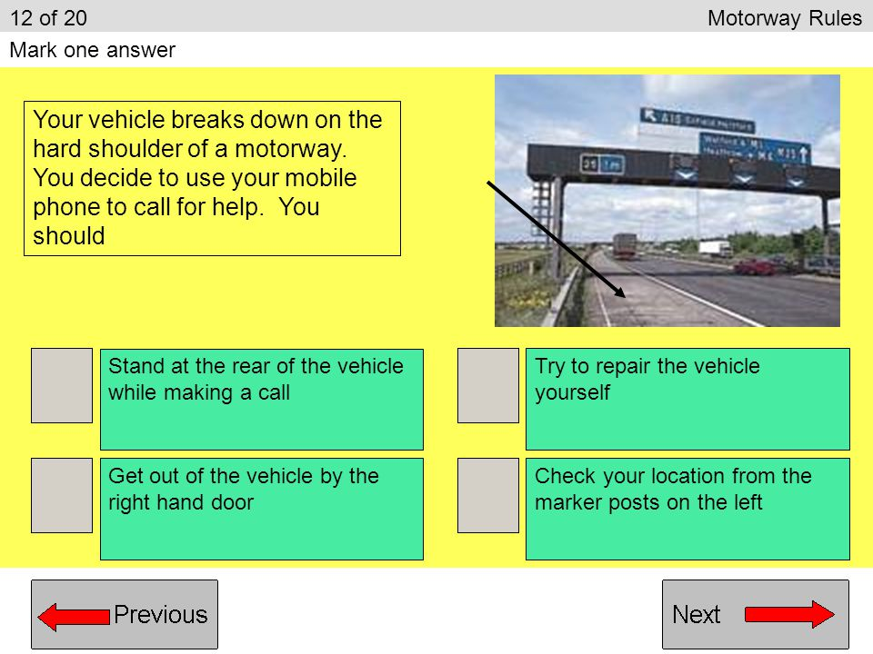 It connects you to a local garage It allows easy location by the emergency services Using a mobile phone will distract other drivers Mobile phones do