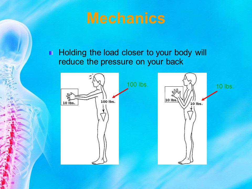 Mechanics Holding the load closer to your body will reduce the pressure on your back 100 lbs. 10 lbs.