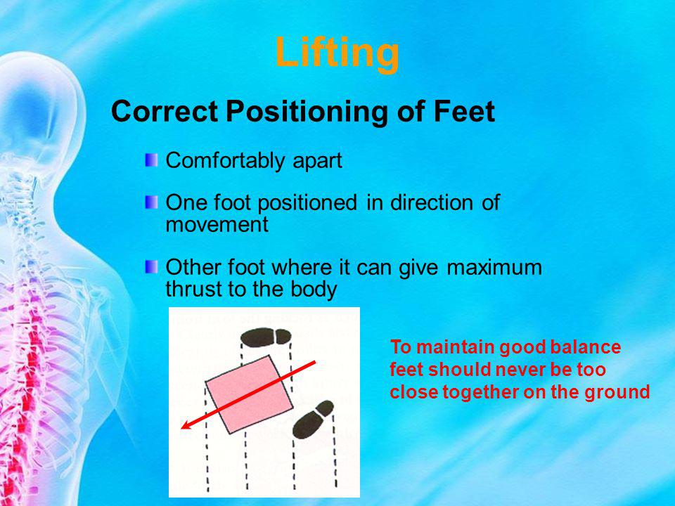 Lifting Correct Positioning of Feet Comfortably apart One foot positioned in direction of movement Other foot where it can give maximum thrust to the